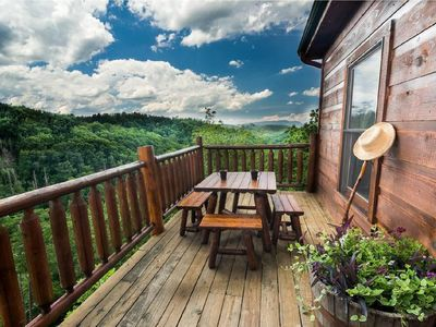 Photo for BREATHTAKING 180° Mountain Views!!  PRIVATE LUXURY CABIN!!  3 Stories, 2 Decks