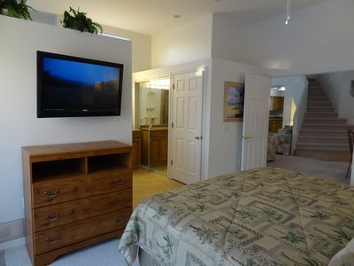 Master Bedroom on First Floor with 37 inch Flat Panel TV
