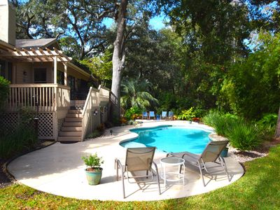 Photo for BEAUTIFUL HOME WITH SUNNY POOL. STEPS FROM BEACHES, GOLF, TENNIS, BIKE PATHS.