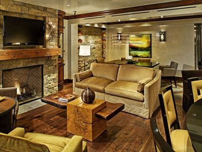 Elegant Furnishings with Queen Sofa Sleeper, Gas Fireplace and Large HDTV