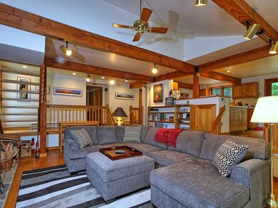 Photo for he perfect family vacation is available at Lakewood Lodge a pet friendly property.  Enjoy the spectacular field stone fireplace or soak in the hot tub after a long hard day in the great outdoors.