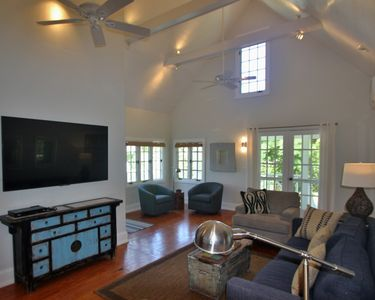 Living Room with ship lap vaulted ceiling