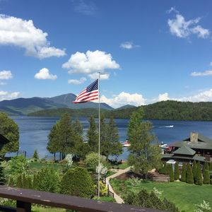 View of Lake Placid, beach and garden area from the main deck.