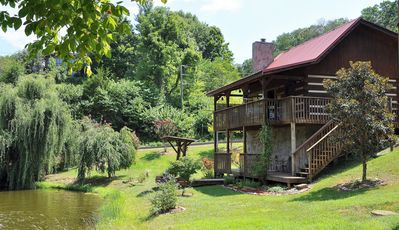Photo for Cabin on Fishing Pond w/Gardens at Smoky Mtn Foothills near Food, Shops & Shows