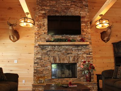 Photo for INDOOR POOL!  HEAVENLY VIEW! HOT TUB, FIREPLACE, FIRE PIT!  Chatt. TN 21 miles