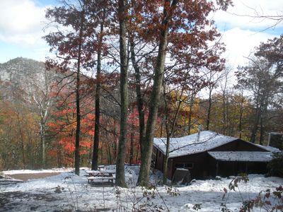 Late October Snow on the mountain. Rear view of the cabin.