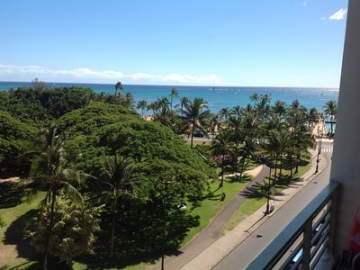 On Waikiiki's edge, the lanai faces away from city w/ this view to the right...