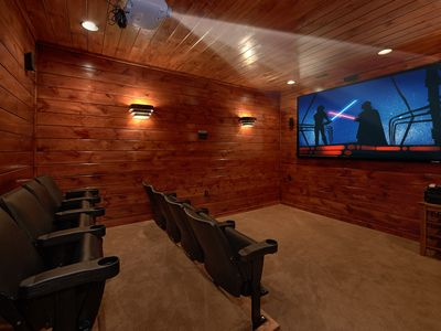 Photo for 3 Master Suite Cabin with Private Home Theater Room and Sauna