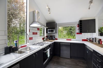 Large modern kitchen. Fully equipped for cooking for eight people.