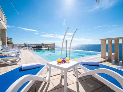 Photo for Luxury Villa Sofia-Sea front,10 meters from the sea, private Pool, Hot tub,