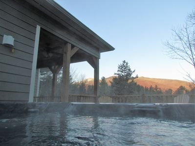 View of Whiteface Mountain and surrounding ranges from upper deck hot tub.