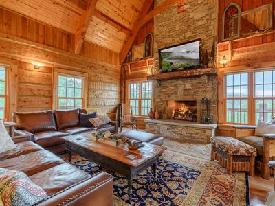 Photo for 3BR/3.5BA Private Luxury, Forever Views, Hot Tub, Chefs Kitchen, Mountain Top Lodge in Valle Crucis