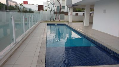 Photo for New flat, 2 bedrooms, furnished with swimming pool on the beach of Novo Campeche / Floripa