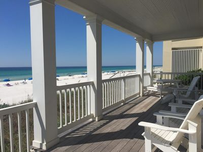 Seating and view from gulf front deck off main level. Watch the beach from deck.