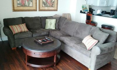 Living room Queen sleeper sectional sofa with gulf views