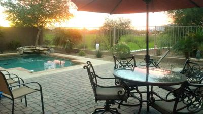 Photo for Beautiful home with heated pool, open views, and close to sports venues.