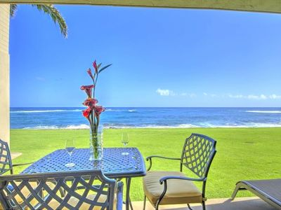 Photo for OCEANFRONT NEW A/C GROUND FLOOR LANAI-LAWN SUNSET VIEWS 2BD/2BTH