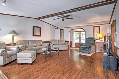 Lounge on the comfy couches in the spacious living area.