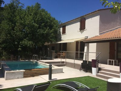 Photo for Villa with pool on 1200m² with trees - quiet - 30 minutes from the beaches of Hyères