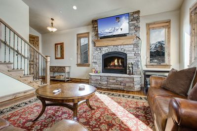 Living Room - Enjoy the warm ambience of the gas fireplace.