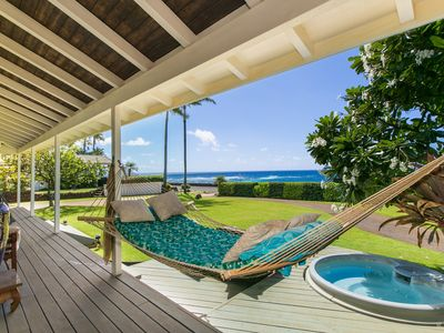 Photo for Poipu beach house getaway, surrounded by ocean, complete w/hammock n hot tub
