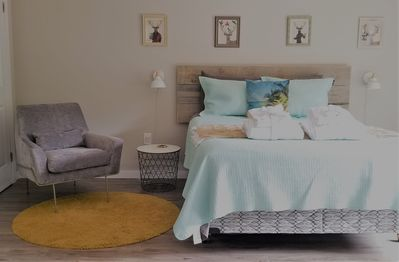 Main room with one queen bed and sofa bed.