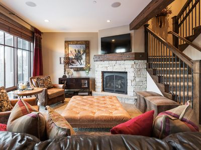 Photo for Modern rustic luxury townhome, sleeps 7 -- steps from lift, winter shuttle service, onsite concierge