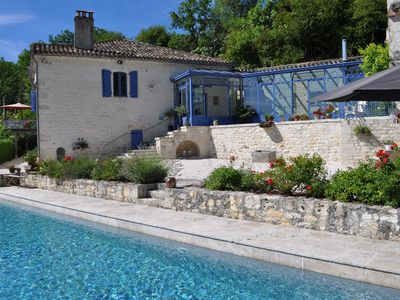 Photo for Authentic, renovated farmhouse with breathtaking view and large swimming pool