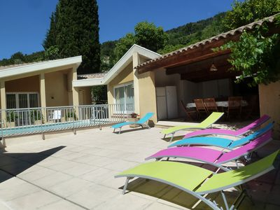 Photo for French Riviera, air-conditioned villa, central heated pool