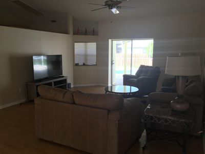 Living room with large screen HD TV