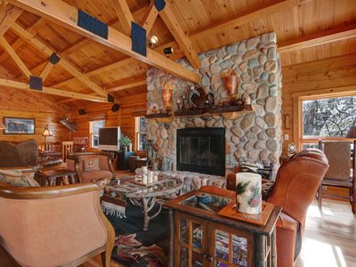 Photo for Two lakefront log homes w/ multiple fireplaces, decks & grills!