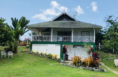 Frontal view of cottage. From here you get a stunning view of the Caribbean Sea