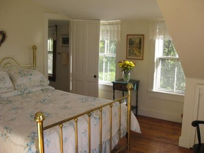 Upstairs Master Bedroom with Queen Size Bed and Private Balcony