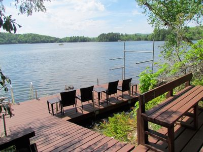 Photo for Stunning  Lakefront Berkshire Rental, Lake Garfield: private dock, boats, more