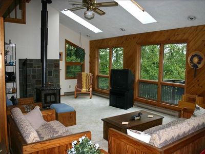 Living Room with wood burning stove and lake view