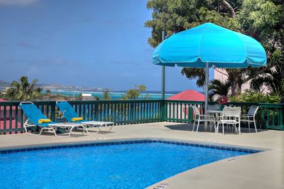 AWESOME pool deck views of  AMAZING ocean blues! GREAT FOR STAR GAZING at night.