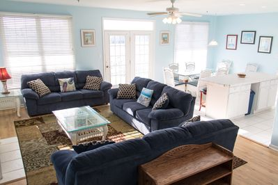 Living Room with dining area in background