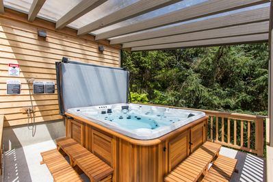 The 9-person hot tub features 3 jet systems and multiple lighting options.