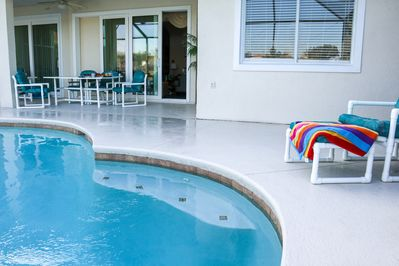 Enjoy sun or shade with easy access from the Family Room