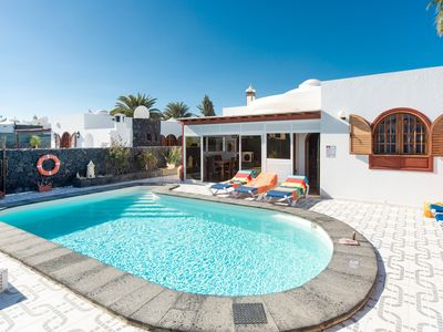 Photo for Villa Palmira: Large Heated Private Pool, Walk to Beach, A/C, WiFi, Car Not Required