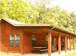 Private, secluded cabin with large covered front porch.