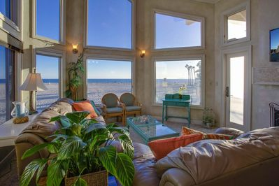 Upstairs Living room with a beautiful ocean view and cable TV