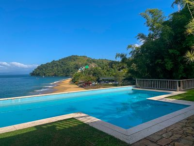 Photo for Sea front house with pool private beach and warm ocean.