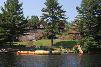 View from the lake at our water slide and trampolines Cott