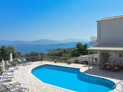 Photo for Villa with Private Pool and Magnificent views over Kassiopi village and Albania