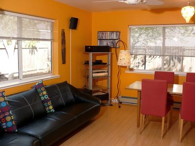 Living/dining area with excellent sound system, internet radio and DVD library.