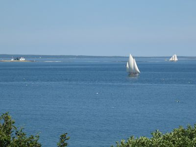 View of the bay in front of the cottage (Blue Hill Bay Lighthouse on left)