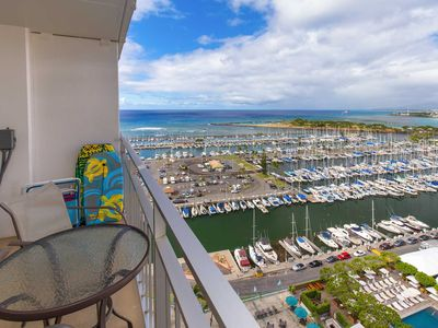 Photo for Ilikai 1927 Ocean / Sunset / Marina Views 2 Double Beds, Sofa Bed