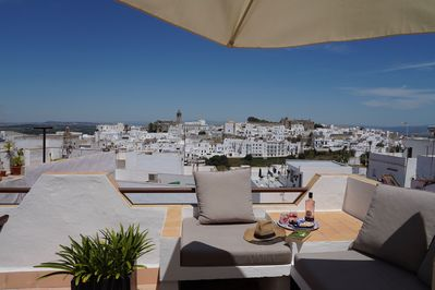 Welcome to your view from the roof terrace at Casa Colina Blanca.