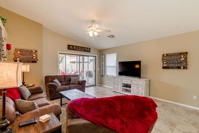 Family Room with Big Screen TV